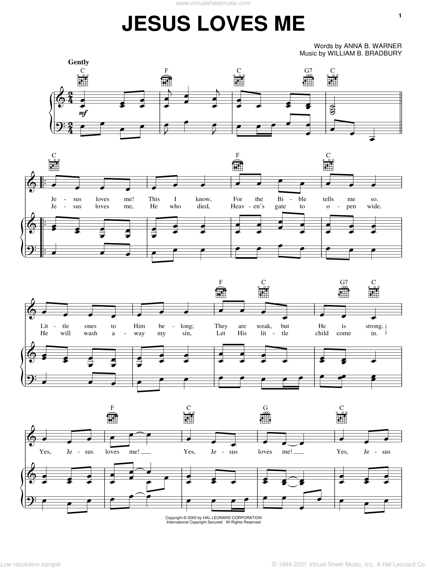 Jesus Loves Me sheet music for voice, piano or guitar by Anna B. Warner and William B. Bradbury, intermediate skill level