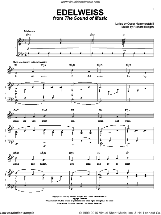 Edelweiss sheet music for voice and piano by Richard Rodgers