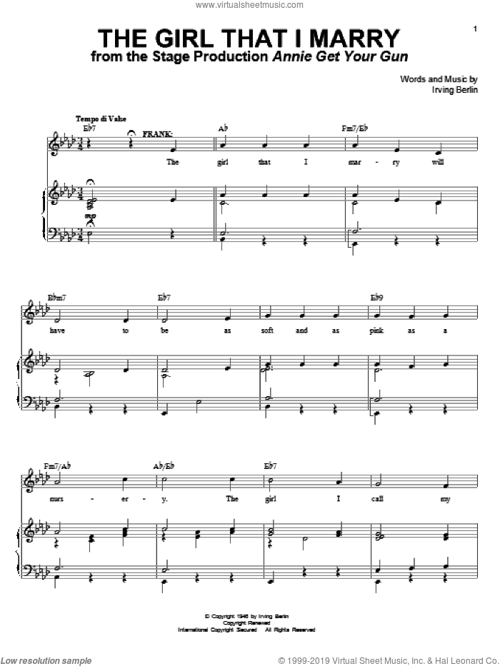 The Girl That I Marry sheet music for voice and piano by Irving Berlin and Annie Get Your Gun (Musical), intermediate skill level