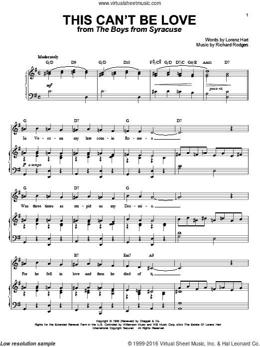 This Can't Be Love sheet music for voice and piano by Richard Rodgers, Rodgers & Hart and Lorenz Hart. Score Image Preview.