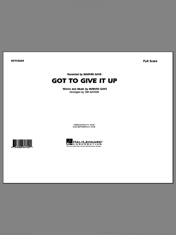 Got To Give It Up (COMPLETE) sheet music for marching band by Marvin Gaye and Tim Waters, intermediate skill level