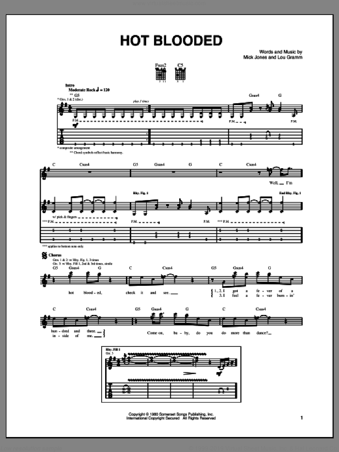 Hot Blooded sheet music for guitar (tablature) by Foreigner, Lou Gramm and Mick Jones, intermediate skill level