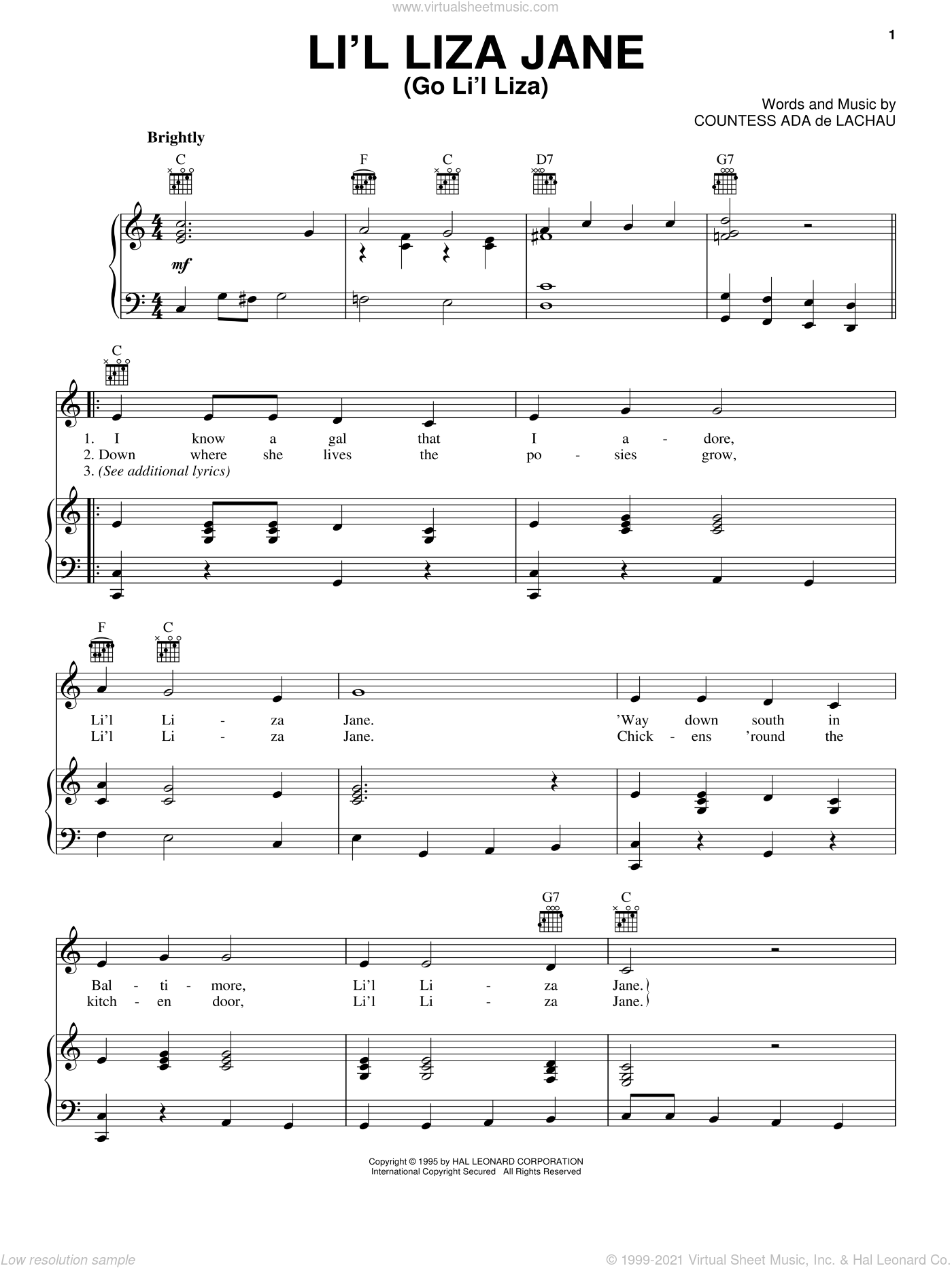 Li'l Liza Jane (Go Li'l Liza) sheet music for voice, piano or guitar by Countess Ada De Lachau, intermediate skill level