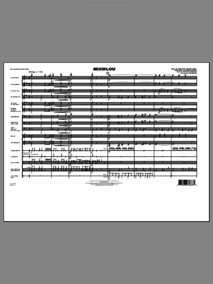 Misirlou (COMPLETE) sheet music for marching band by Tim Waters and Nicolas Roubanis, intermediate skill level