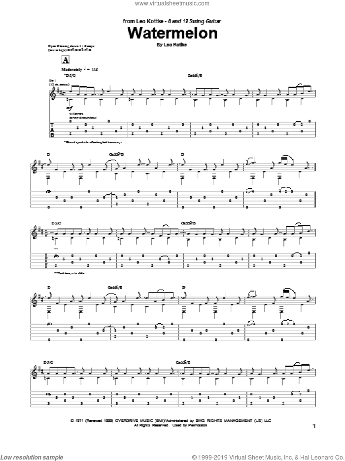 Watermelon sheet music for guitar (tablature) by Leo Kottke