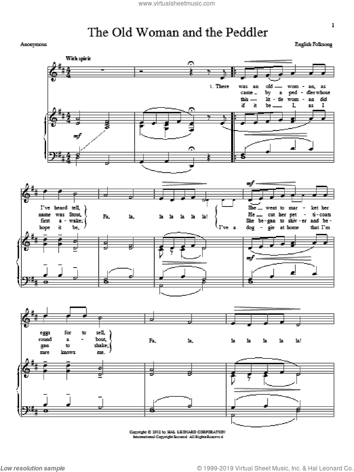 The Old Woman And The Peddler sheet music for voice and piano, intermediate skill level
