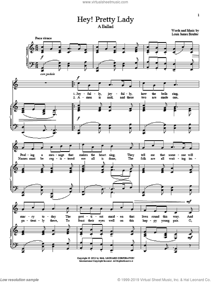 Hey! Pretty Lady sheet music for voice and piano by Louis James Boulter, intermediate skill level