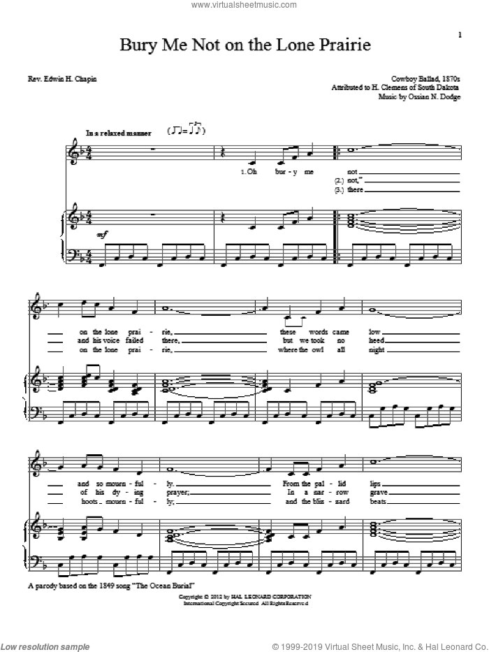Bury Me Not On The Lone Prairie sheet music for voice and piano by Ossian N. Dodge. Score Image Preview.