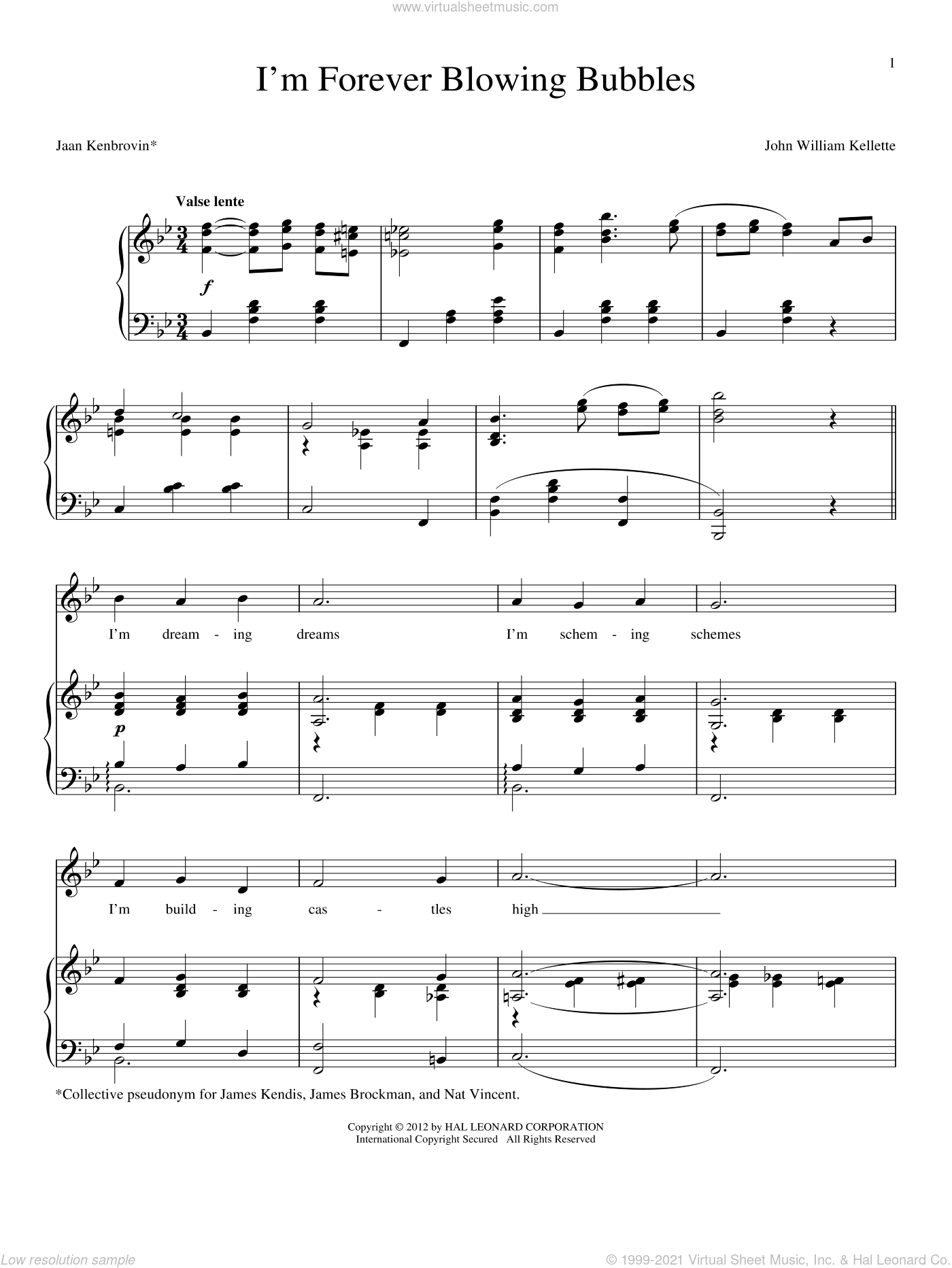 I'm Forever Blowing Bubbles sheet music for voice and piano by John William Kellette
