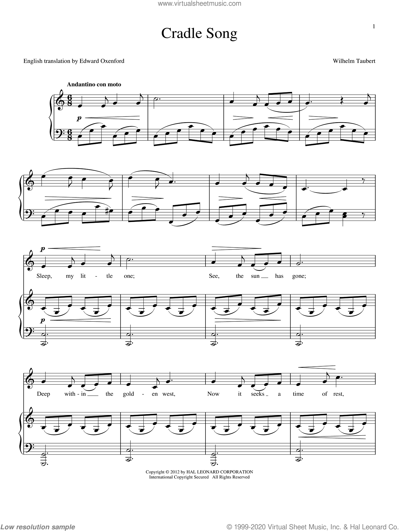 Cradle Song sheet music for voice and piano by Wilhelm Taubert, intermediate voice. Score Image Preview.