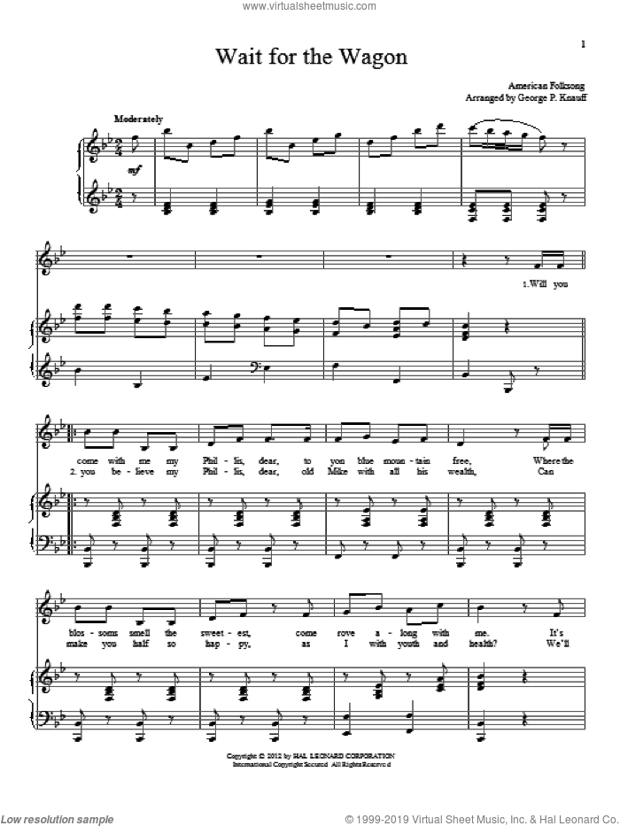 Wait For The Wagon sheet music for voice and piano by American Folksong. Score Image Preview.