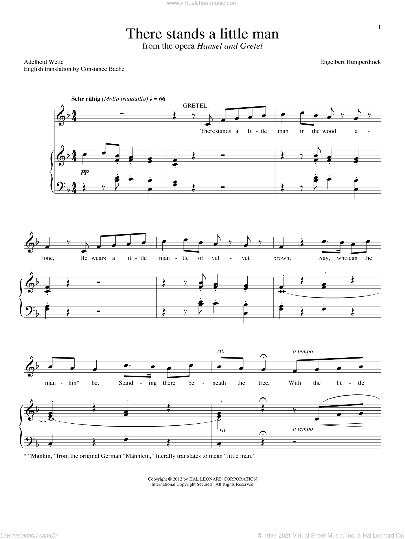 There Stands A Little Man sheet music for voice and piano by Adelheid Wette