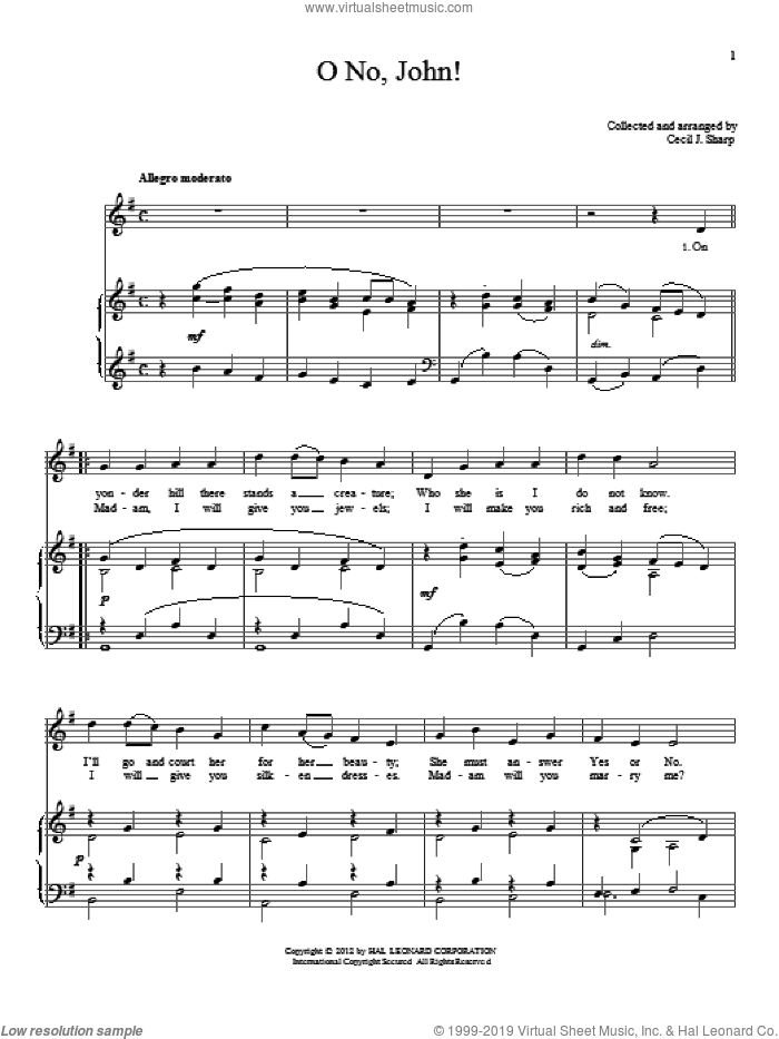 O No, John! sheet music for voice and piano, intermediate skill level