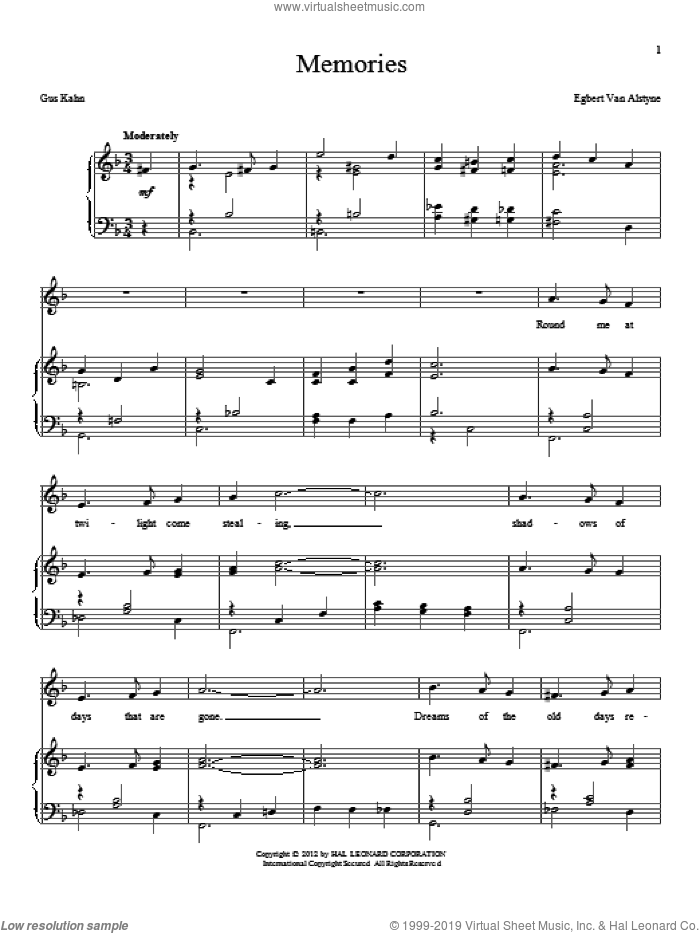 Memories sheet music for voice and piano by Egbert Van Alstyne and Gus Kahn, intermediate skill level