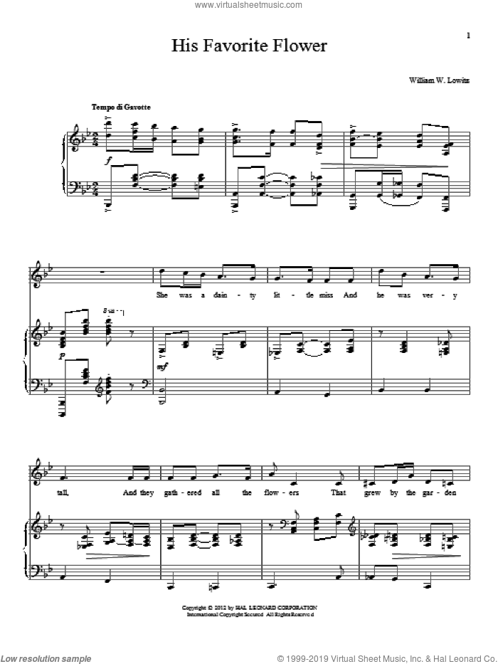 His Favorite Flower sheet music for voice and piano by William W. Lowitz, intermediate. Score Image Preview.