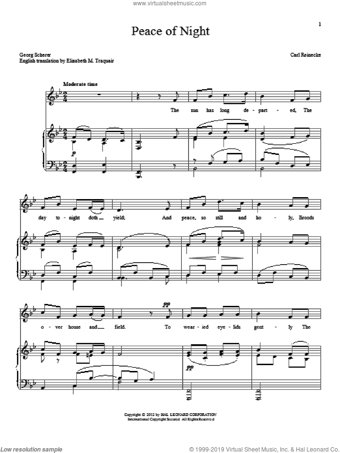 Peace Of Night sheet music for voice and piano by Elizabeth M. Traquair and Georg Scherer