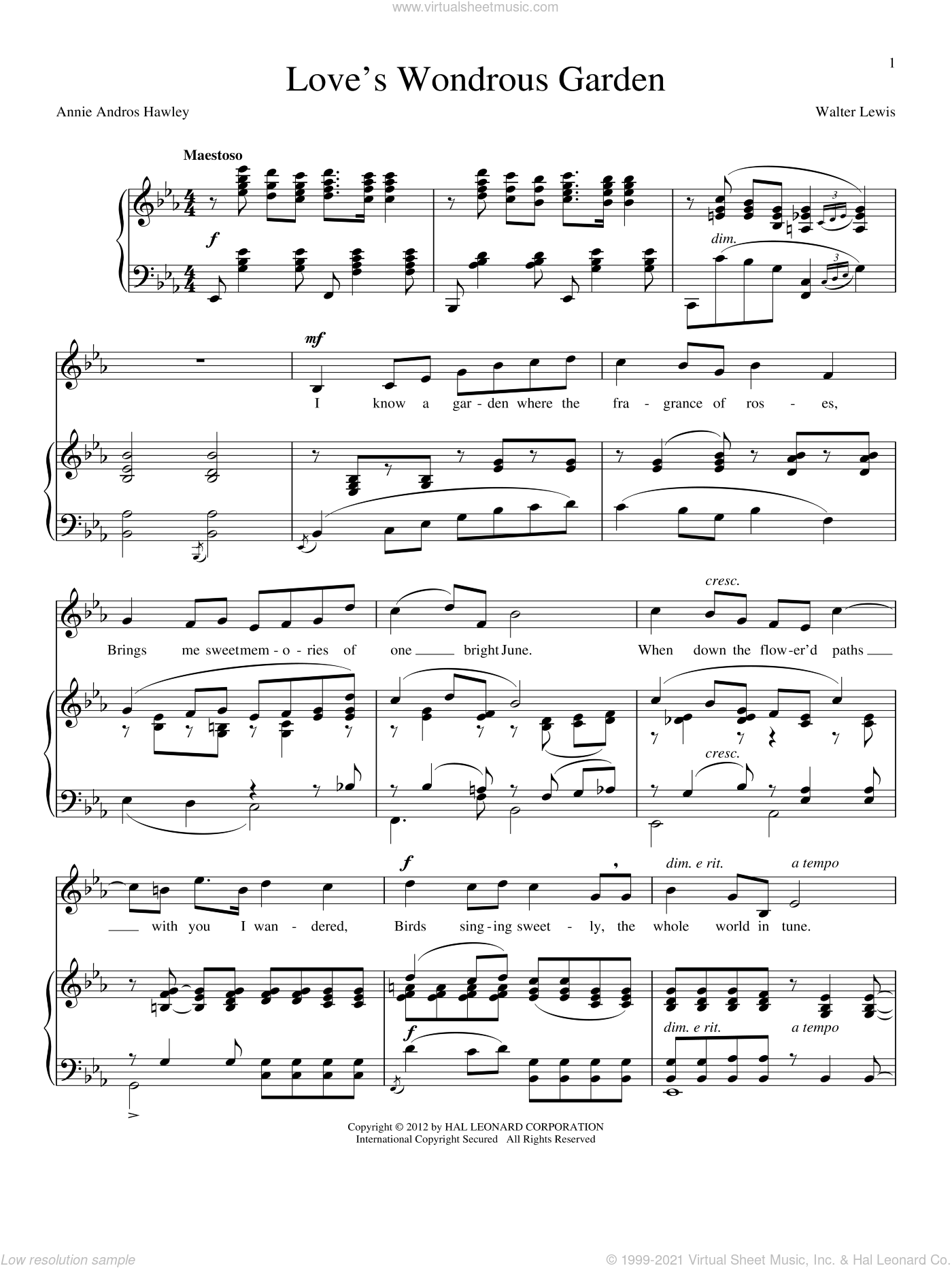 Love's Wondrous Garden sheet music for voice and piano by Annie Andros Hawley. Score Image Preview.