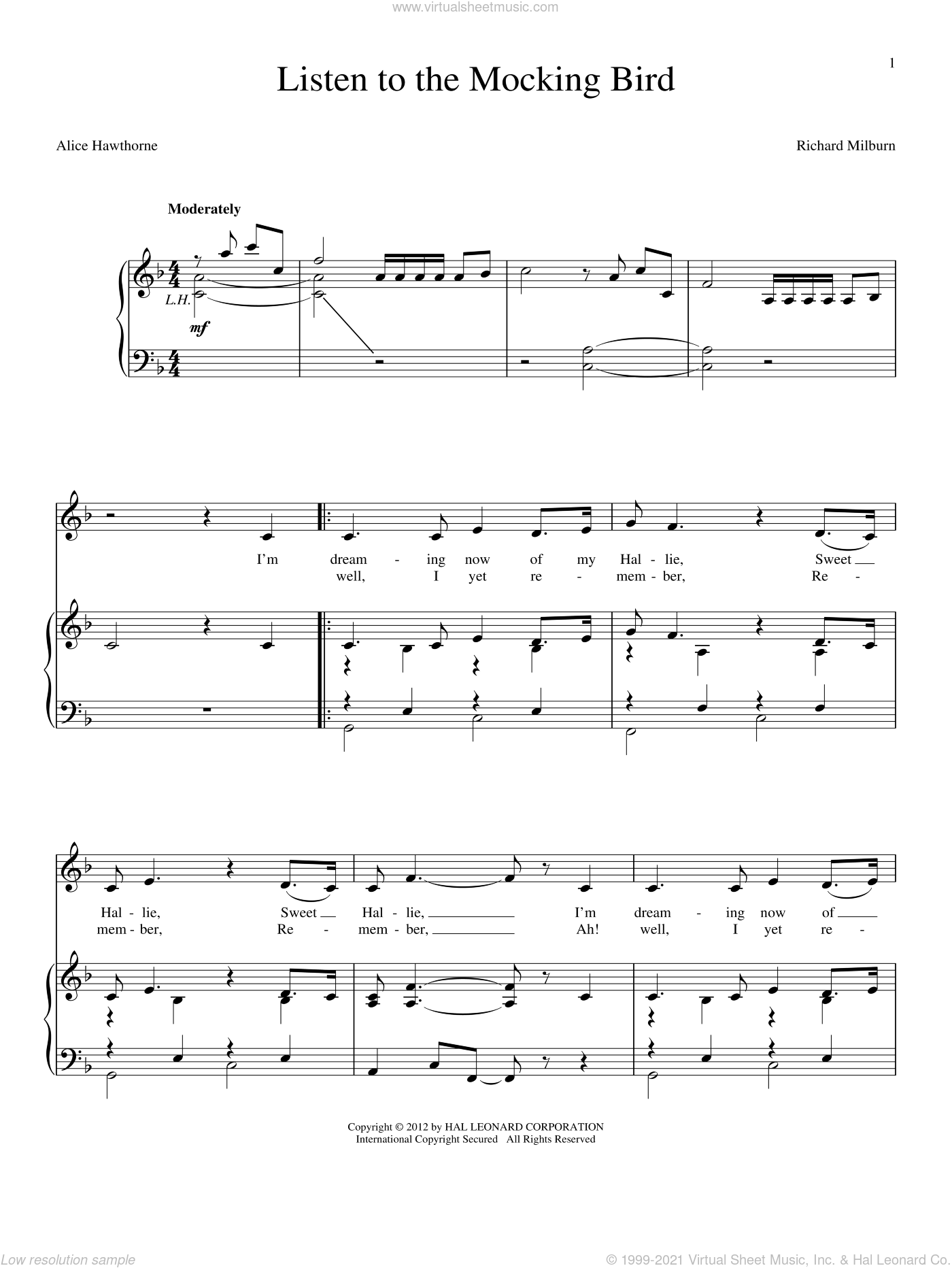 Listen To The Mocking Bird sheet music for voice and piano by Richard Milburn and Alice Hawthorne