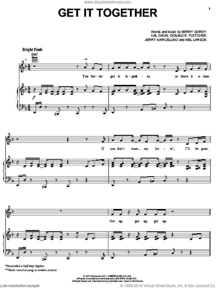 Get It Together sheet music for voice, piano or guitar by The Jackson 5, Michael Jackson, Berry Gordy, Donald E. Fletcher, Hal Davis, Jerry Marcellino and Mel Larson, intermediate skill level