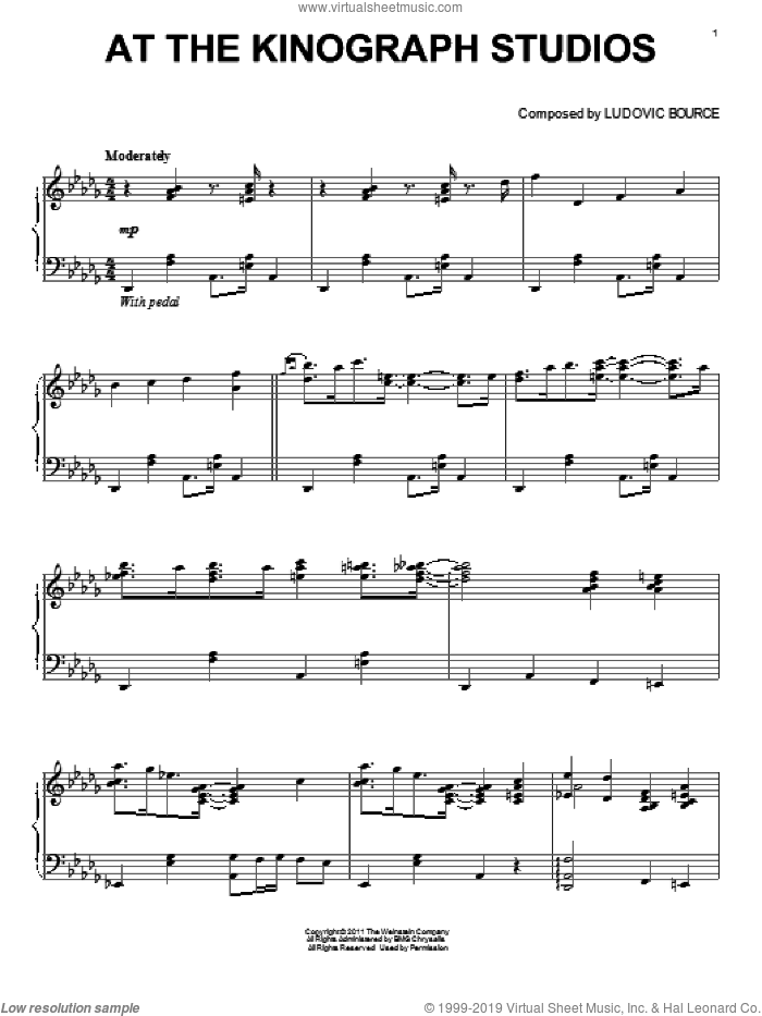 At The Kinograph Studios sheet music for piano solo by Ludovic Bource, intermediate piano. Score Image Preview.