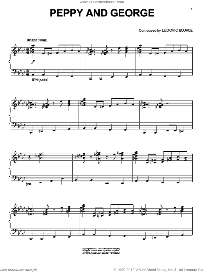 Peppy And George, (intermediate) sheet music for piano solo by Ludovic Bource and The Artist (Movie), intermediate skill level