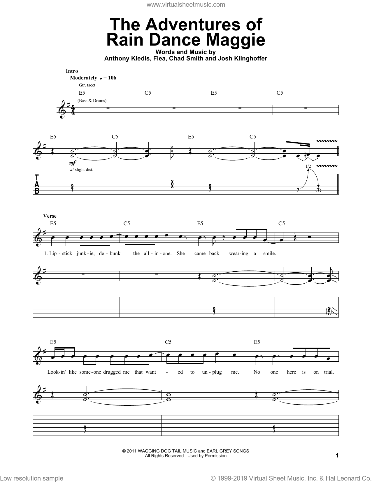 The Adventures Of Rain Dance Maggie sheet music for guitar (tablature, play-along) by Red Hot Chili Peppers, Anthony Kiedis, Chad Smith, Flea and Josh Klinghoffer, intermediate skill level