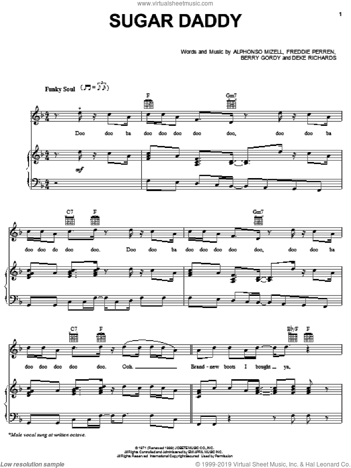 Sugar Daddy sheet music for voice, piano or guitar by Frederick Perren, Michael Jackson, The Jackson 5, Alphonso Mizell and Berry Gordy. Score Image Preview.