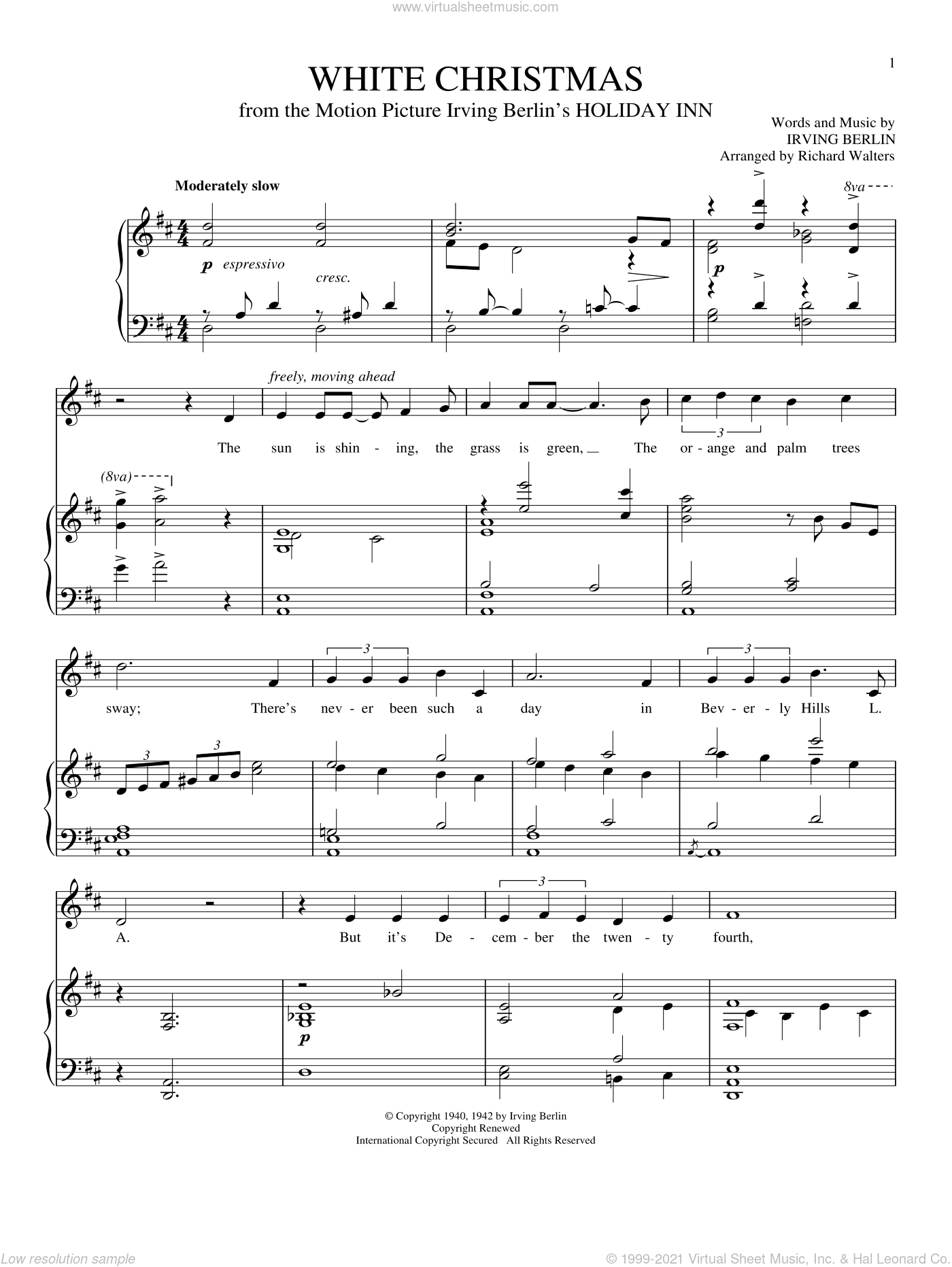 White Christmas sheet music for voice and piano by Irving Berlin, intermediate skill level