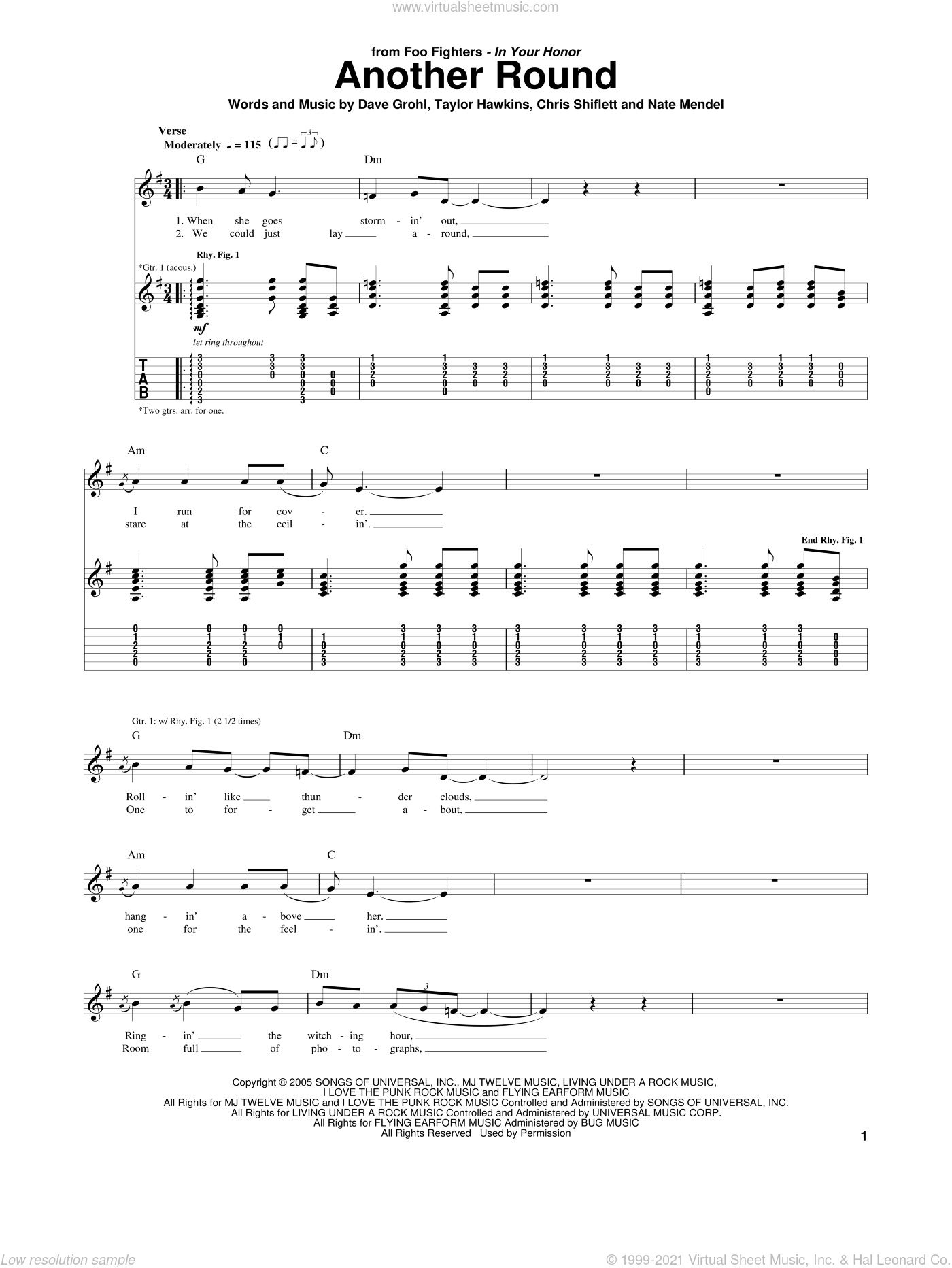 Another Round sheet music for guitar (tablature) by Taylor Hawkins, Foo Fighters, Chris Shiflett, Dave Grohl and Nate Mendel. Score Image Preview.