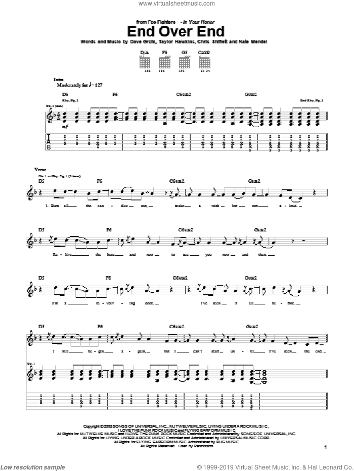 End Over End sheet music for guitar (tablature) by Taylor Hawkins, Foo Fighters, Chris Shiflett, Dave Grohl and Nate Mendel. Score Image Preview.