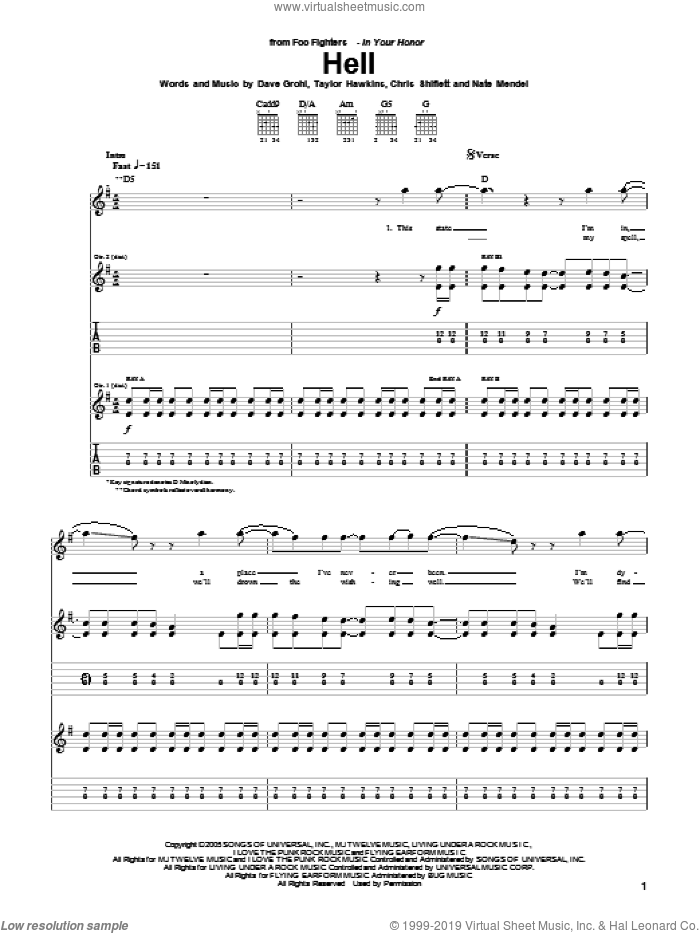 Hell sheet music for guitar (tablature) by Taylor Hawkins, Foo Fighters, Chris Shiflett, Dave Grohl and Nate Mendel. Score Image Preview.