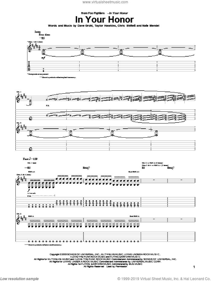 In Your Honor sheet music for guitar (tablature) by Foo Fighters, intermediate. Score Image Preview.