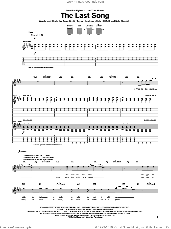The Last Song sheet music for guitar (tablature) by Foo Fighters, Chris Shiflett, Dave Grohl, Nate Mendel and Taylor Hawkins, intermediate skill level