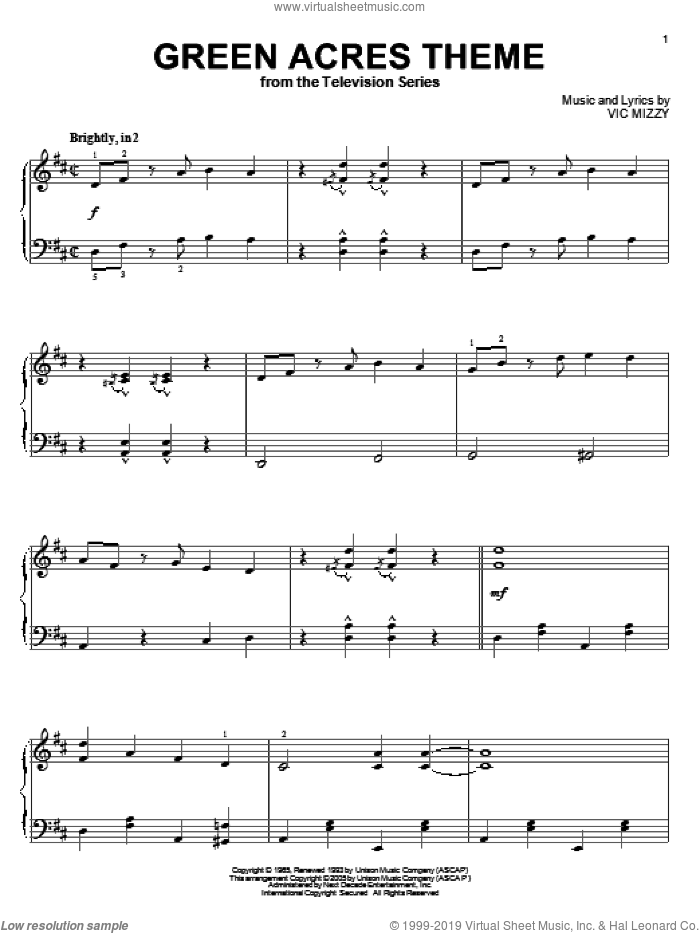 Green Acres Theme sheet music for piano solo by Vic Mizzy, intermediate skill level