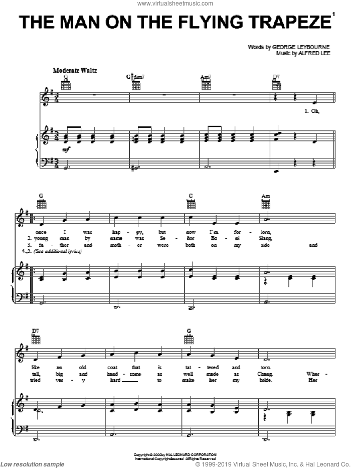 The Man On The Flying Trapeze sheet music for voice, piano or guitar by George Leybourne and Alfred Lee, intermediate voice, piano or guitar. Score Image Preview.
