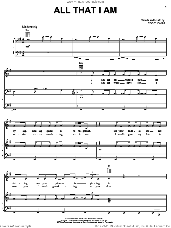 All That I Am sheet music for voice, piano or guitar by Rob Thomas. Score Image Preview.