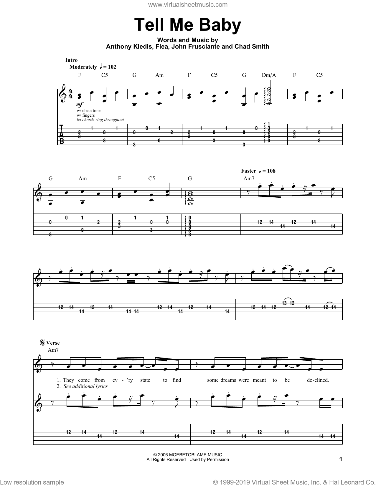 Tell Me Baby sheet music for guitar (tablature, play-along) by John Frusciante, Red Hot Chili Peppers and Flea. Score Image Preview.