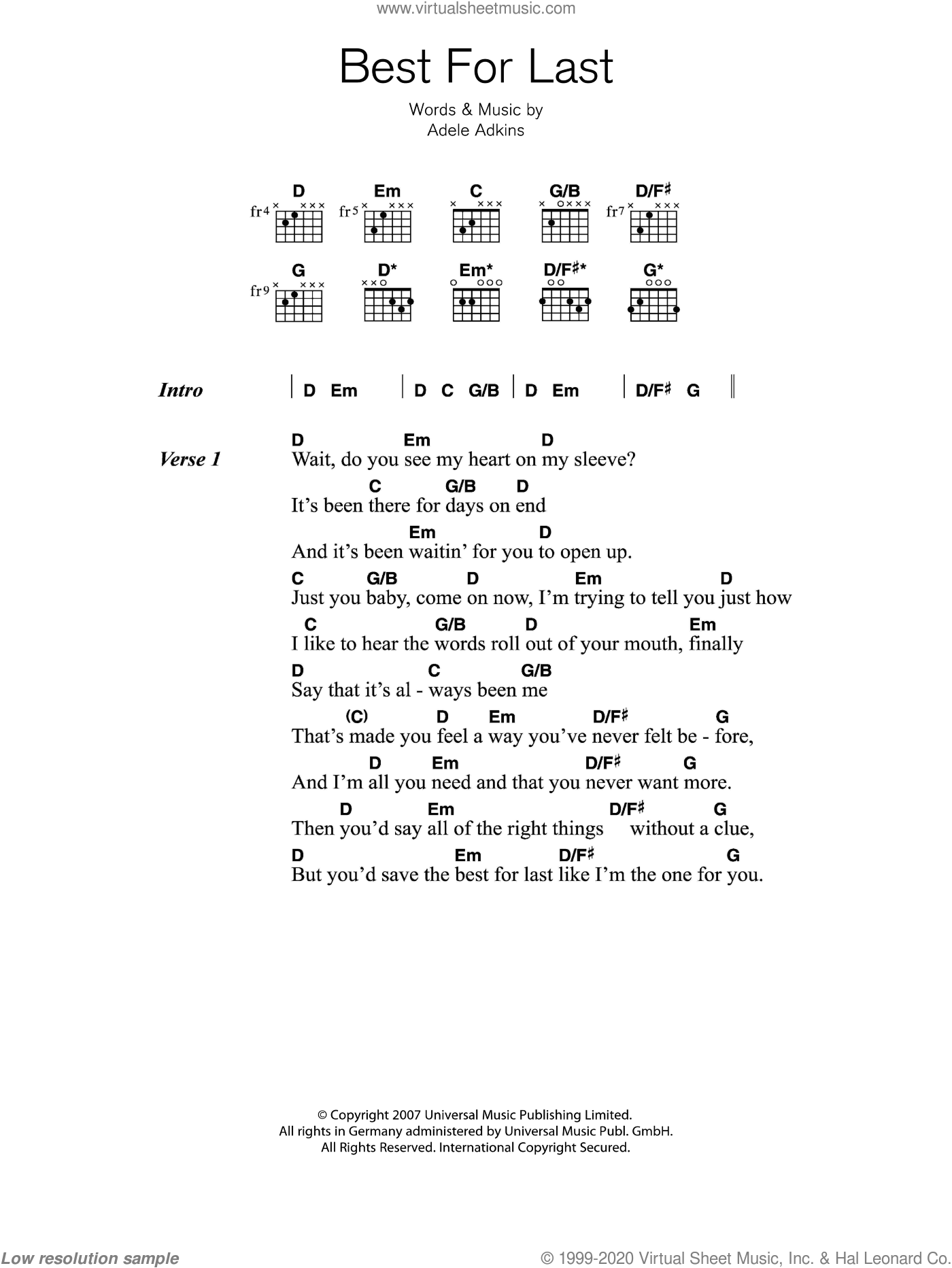 Best For Last sheet music for guitar (chords) by Adele and Adele Adkins, intermediate skill level