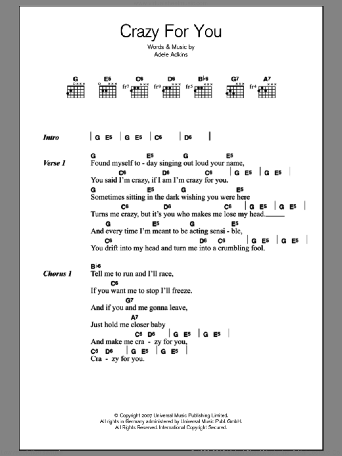 Crazy For You sheet music for guitar (chords) by Adele and Adele Adkins, intermediate skill level