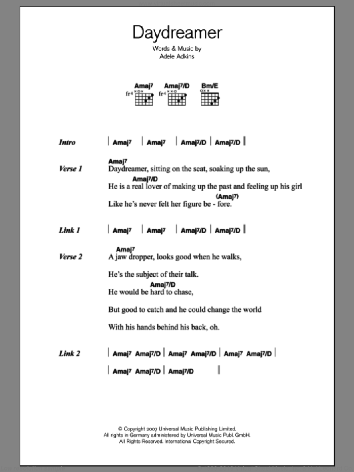 Adele Daydreamer Sheet Music For Guitar Chords V2