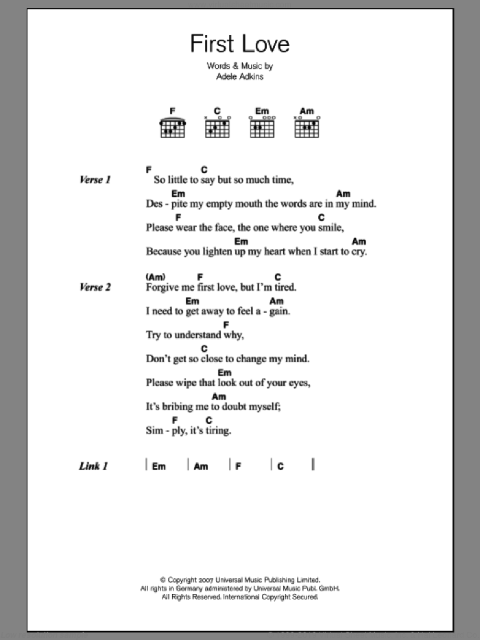First Love sheet music for guitar (chords) by Adele and Adele Adkins, intermediate skill level
