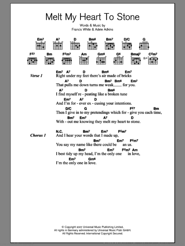 Melt My Heart To Stone sheet music for guitar (chords) by Adele, Adele Adkins and Francis White, intermediate. Score Image Preview.