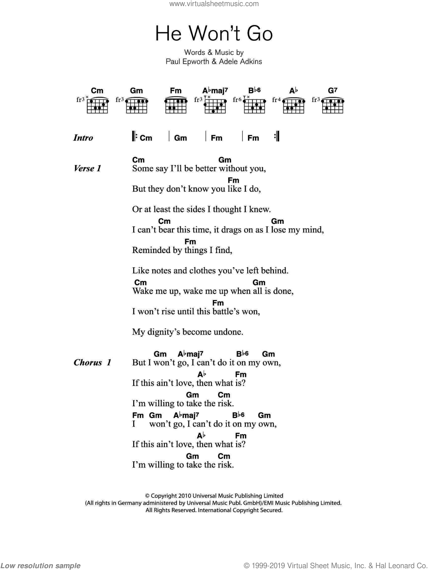He Won't Go sheet music for guitar (chords) by Adele, Adele Adkins and Paul Epworth, intermediate. Score Image Preview.