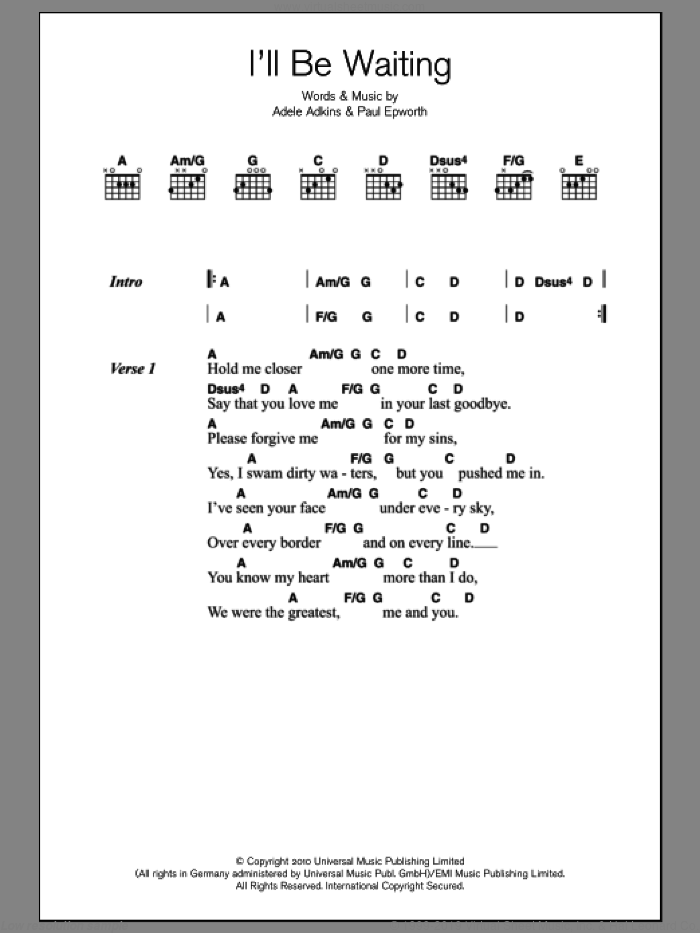 I'll Be Waiting sheet music for guitar (chords) by Adele, Adele Adkins and Paul Epworth, intermediate skill level
