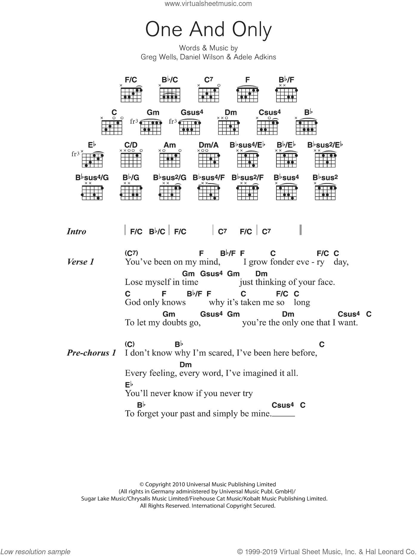 Adele - One And Only sheet music for guitar (chords) [PDF]
