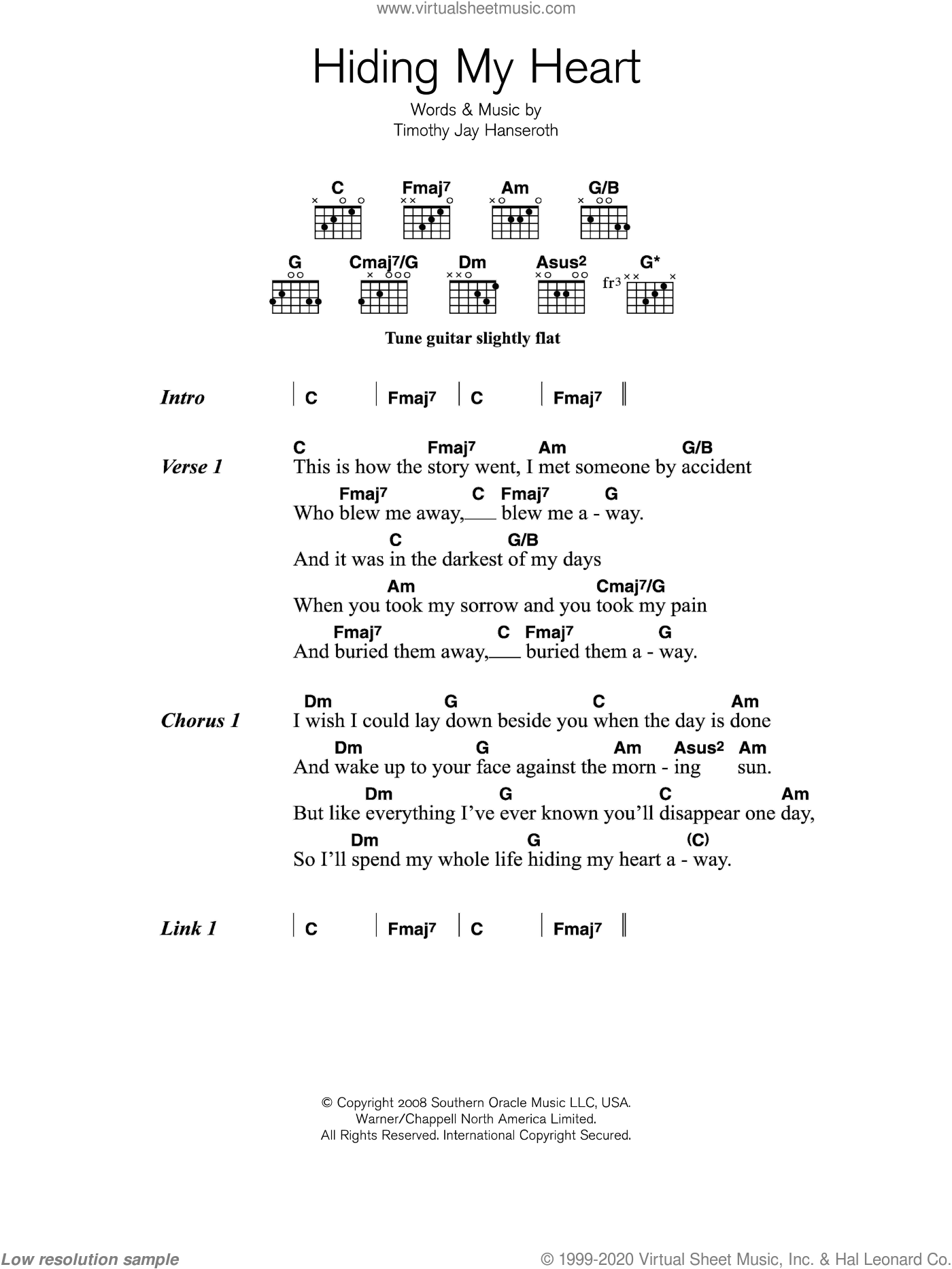 Adele - Hiding My Heart sheet music for guitar (chords) [PDF]