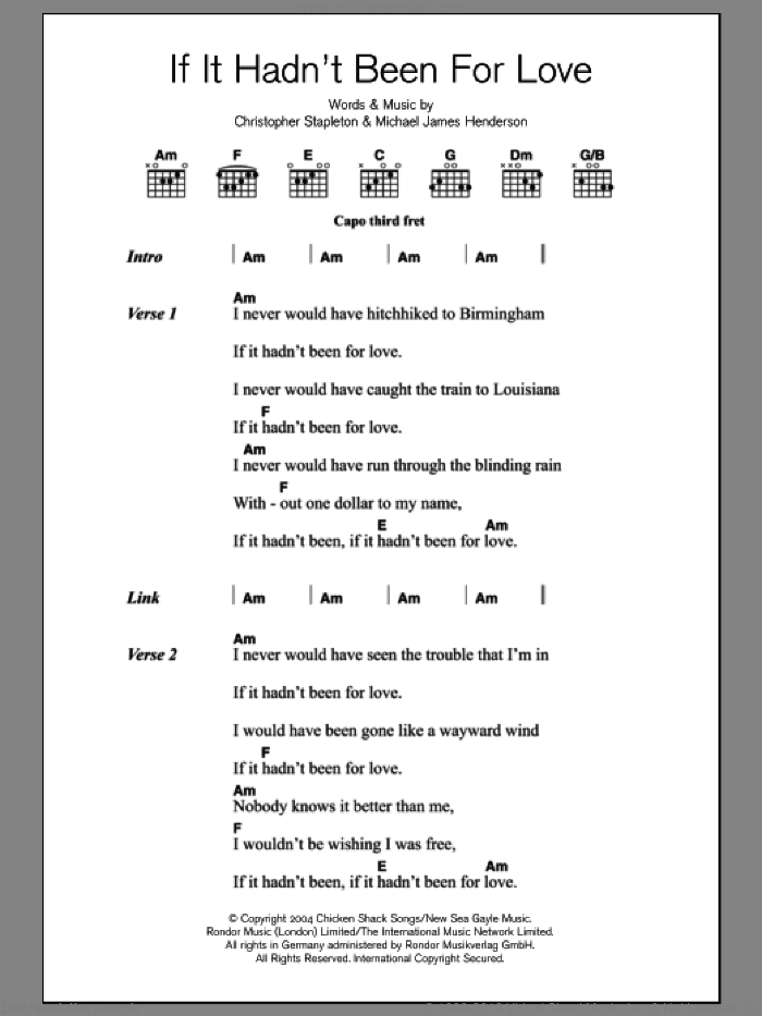 Adele If It Hadnt Been For Love Sheet Music For Guitar Chords