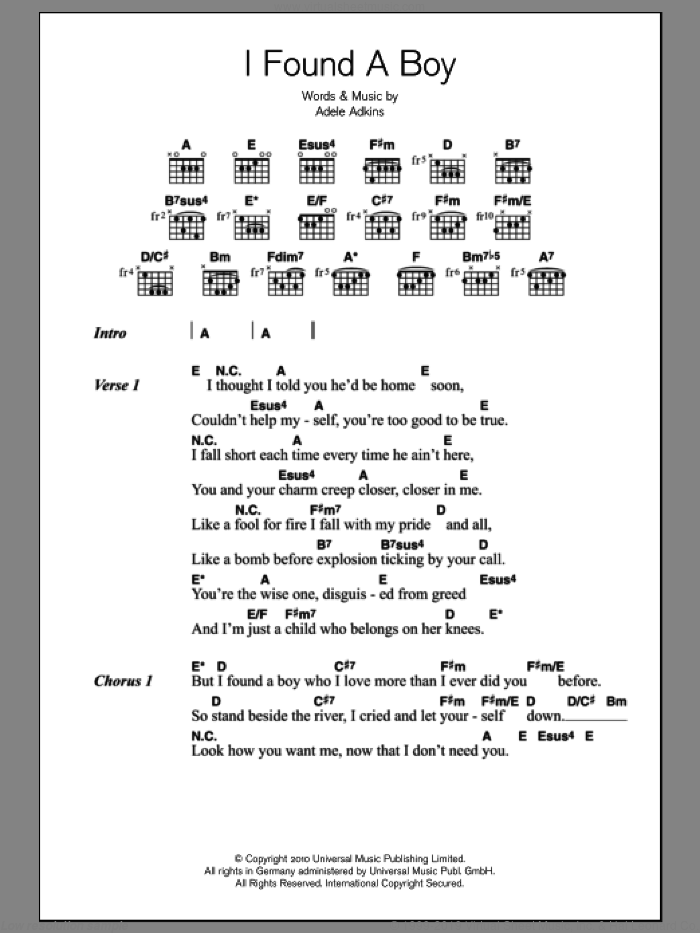 I Found A Boy sheet music for guitar (chords) by Adele and Adele Adkins, intermediate skill level