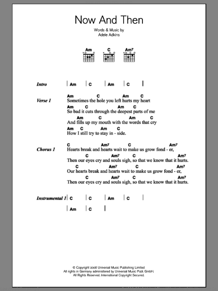 Now And Then sheet music for guitar (chords) by Adele and Adele Adkins, intermediate skill level