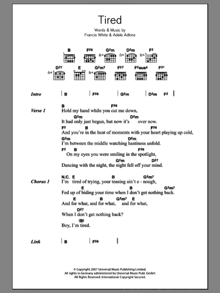 Tired sheet music for guitar (chords) by Francis White, Adele and Adele Adkins. Score Image Preview.